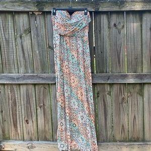 American Rag Strapless Multi colored Maxi Dress